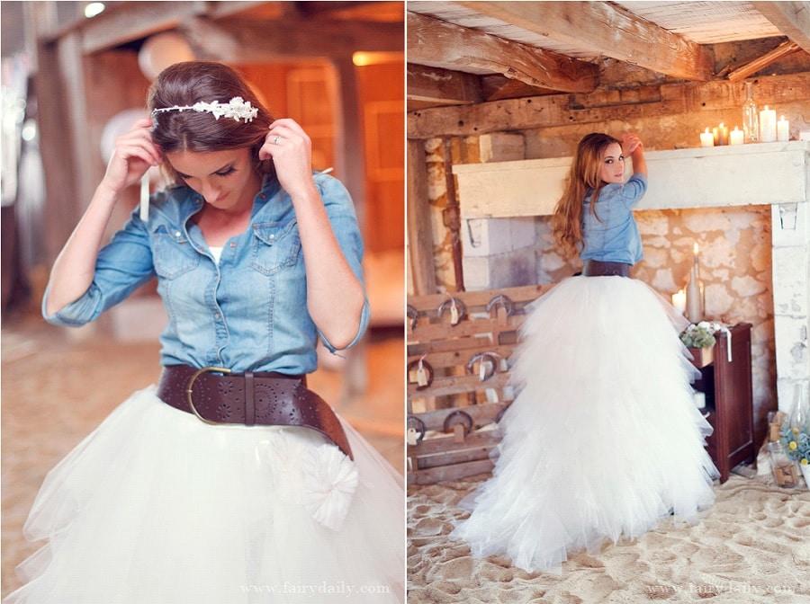 mariée veste en jean, mariée hiver, gilet mariée