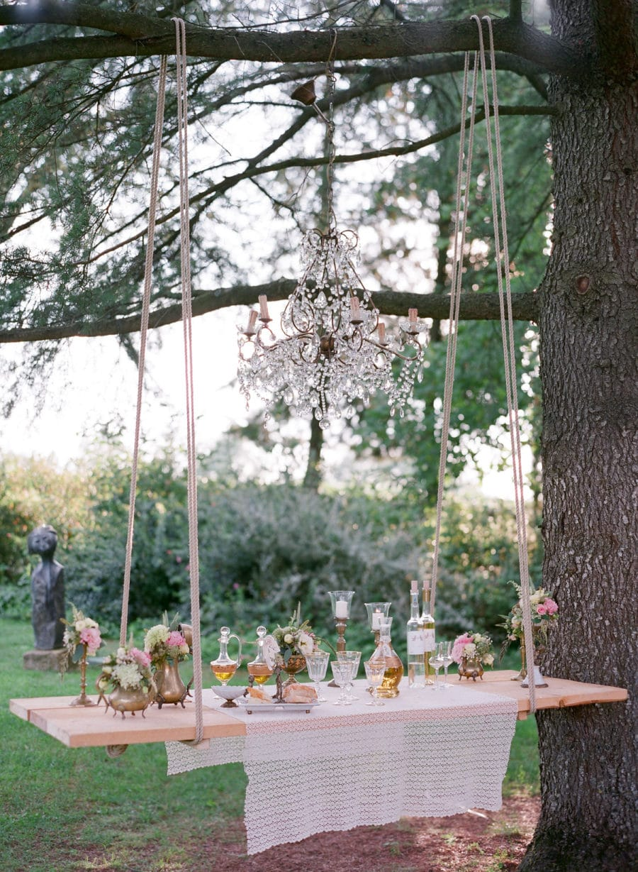 planches suspendues buffet mariage